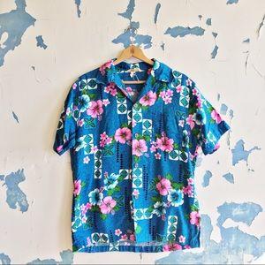 Vintage Royal Hawaiian Blue Tropical Floral Shirt
